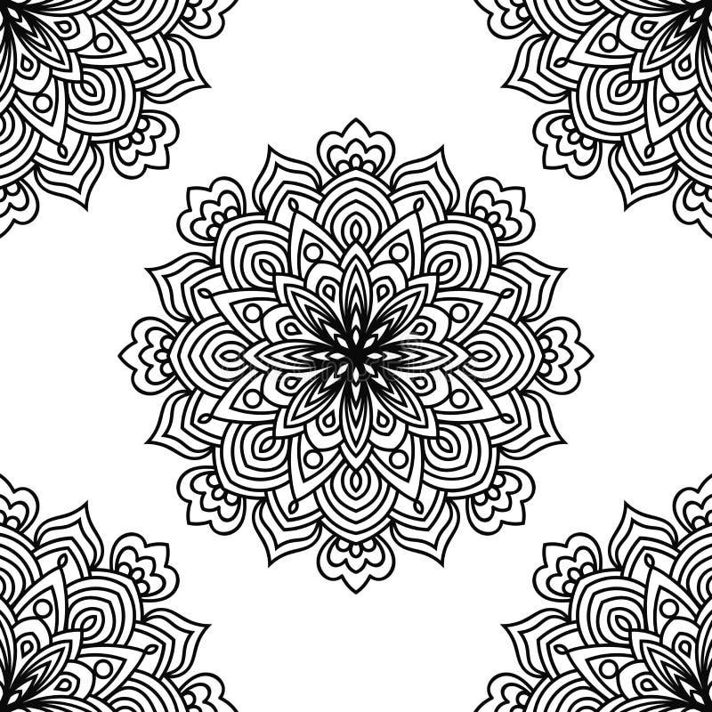 Zwart-wit fantasie naadloos patroon met sier ronde krabbelbloem op witte achtergrond Zwarte overzichtsmandala royalty-vrije illustratie