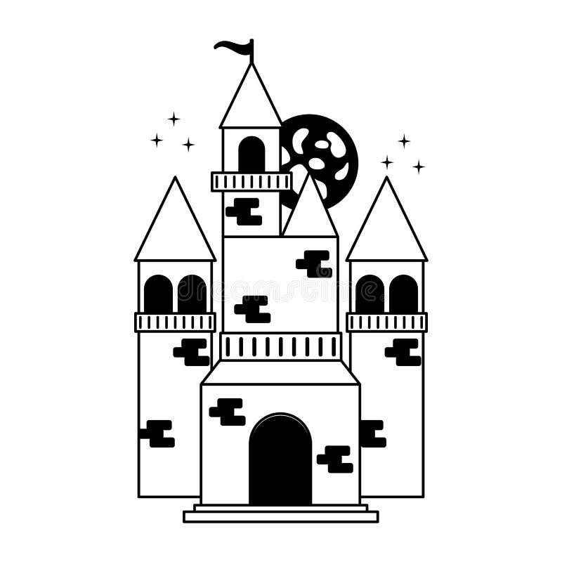 Zwart-wit feekasteel stock illustratie