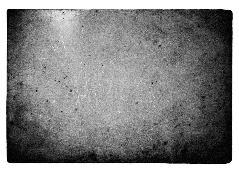 Zwart-wit filmkader met lichte die lekken en korrel op witte achtergrond wordt geïsoleerd royalty-vrije stock afbeeldingen