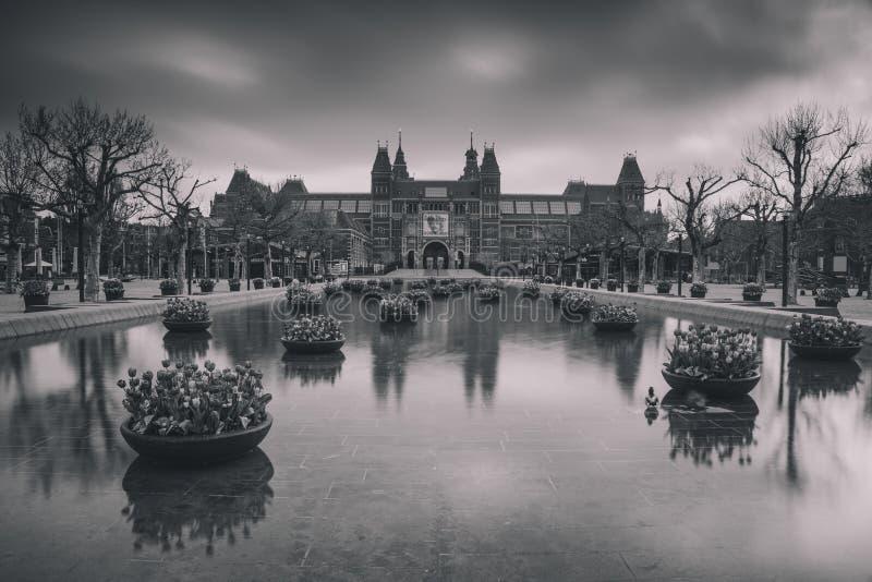 Zwart wit foto van het Rijksmuseum di Een fotografie stock