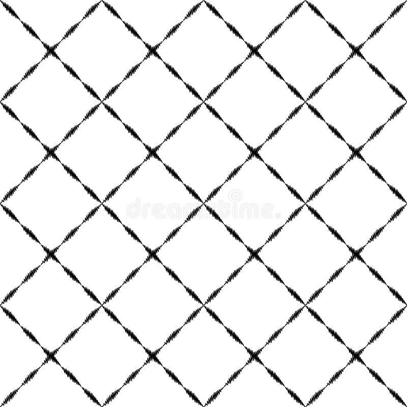 Zwart-wit geborduurd geometrisch geruit ornament naadloos patroon, vector royalty-vrije illustratie