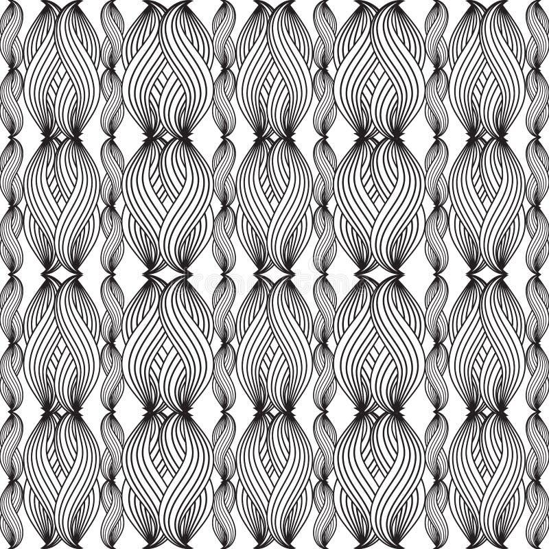 Zwart-wit gebreid uitstekend vector naadloos patroon Abstrac royalty-vrije illustratie