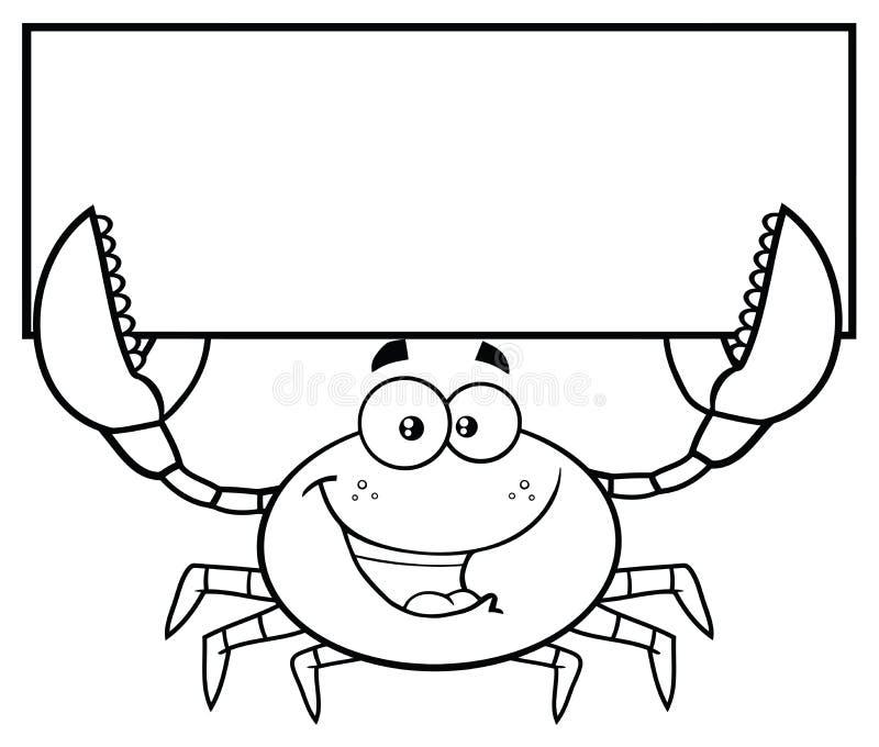Zwart-wit Gelukkig van het de Mascottekarakter van het Krabbeeldverhaal de Holdings Leeg Teken vector illustratie