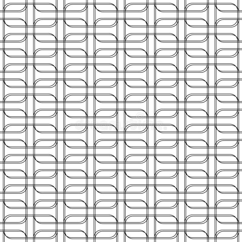 Zwart-wit geomatric naadloos patroon met lijn en rond c vector illustratie
