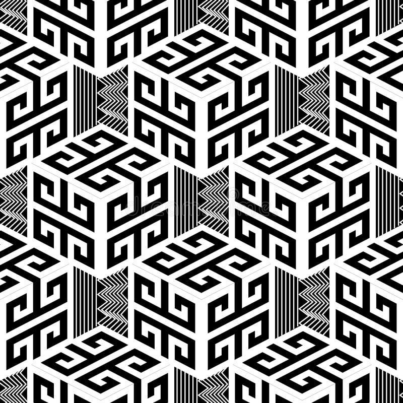 Zwart-wit geometrisch Grieks stijl vector naadloos patroon vector illustratie