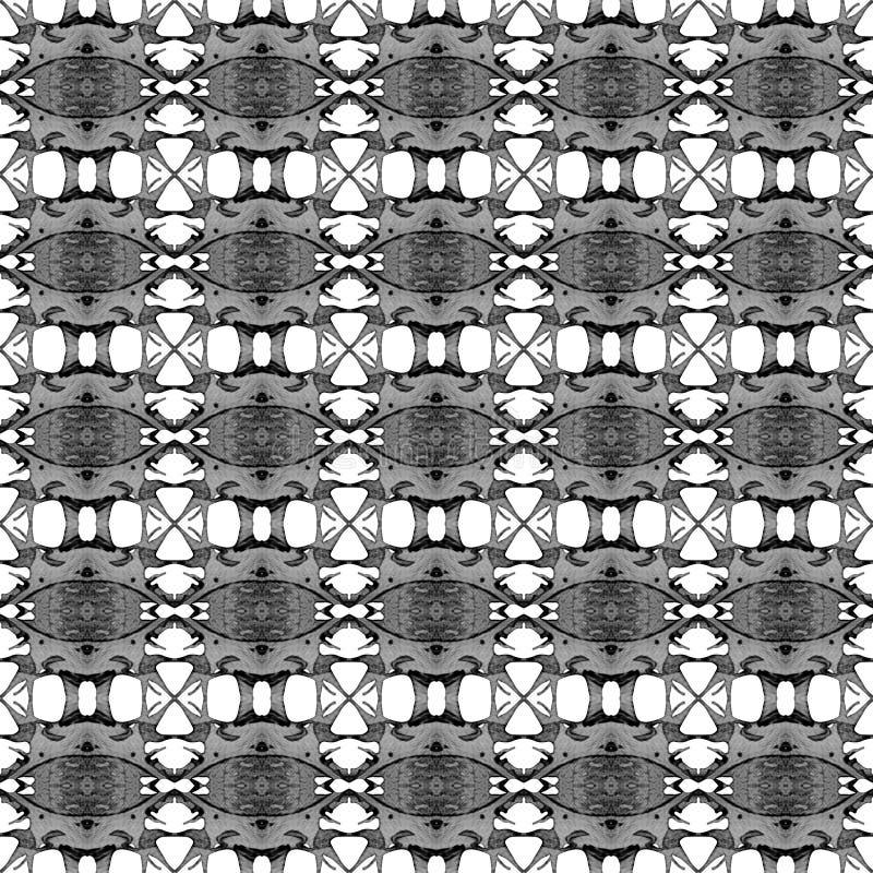 Zwart-wit geometrisch naadloos patroon Hand D royalty-vrije stock afbeelding