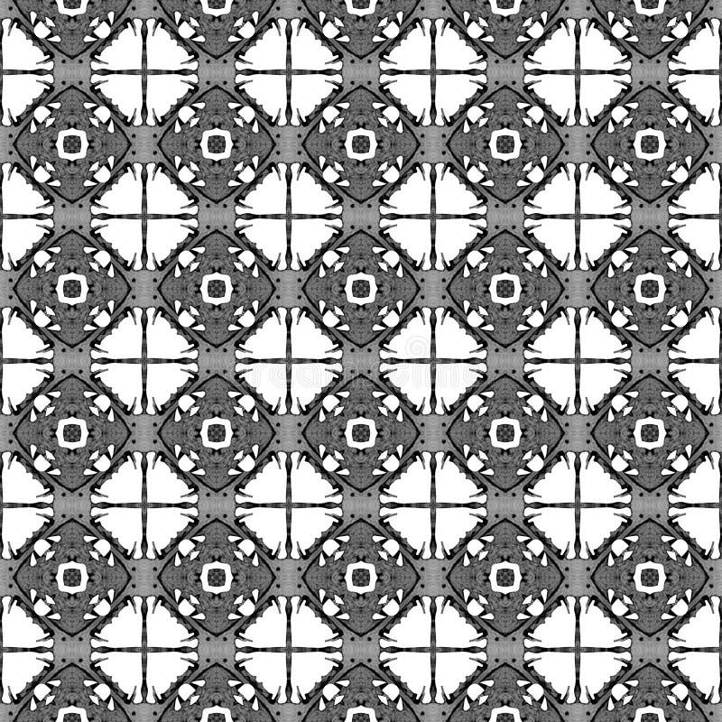 Zwart-wit geometrisch naadloos patroon Hand getrokken waterverfornament royalty-vrije stock foto