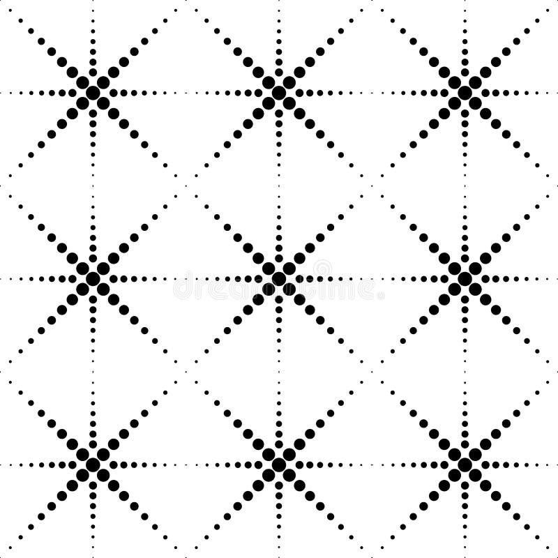 Zwart-wit geometrisch naadloos patroon met cirkel, samenvatting stock illustratie