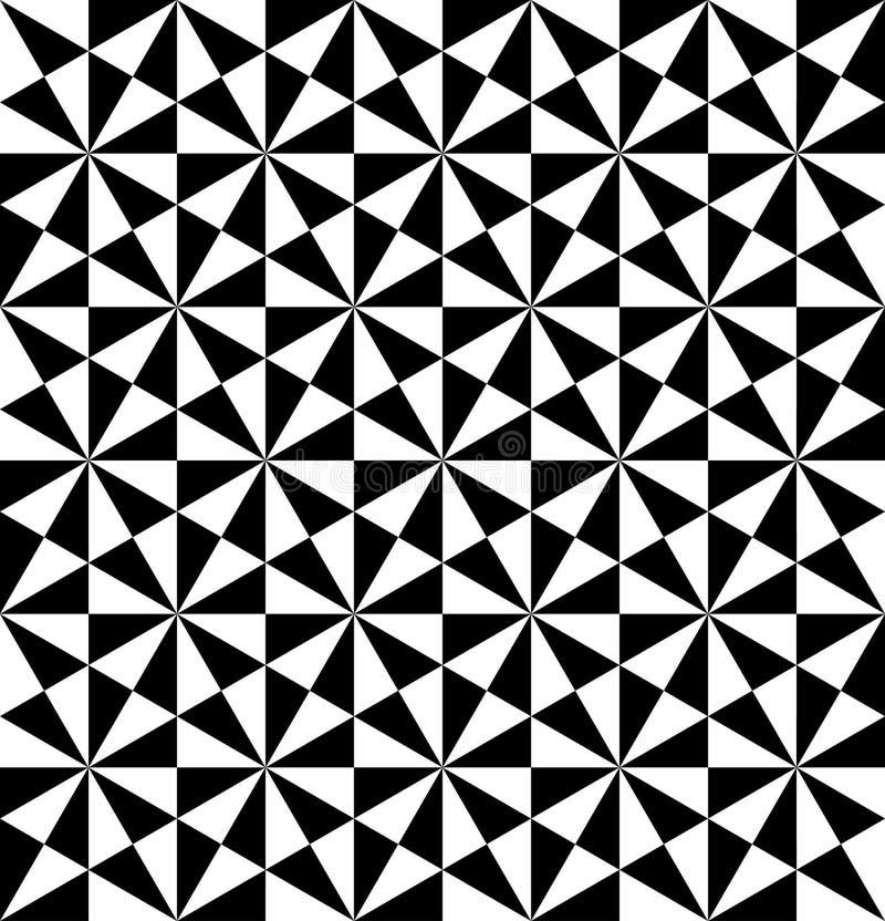 Zwart-wit geometrisch naadloos patroon met driehoek, abstra vector illustratie