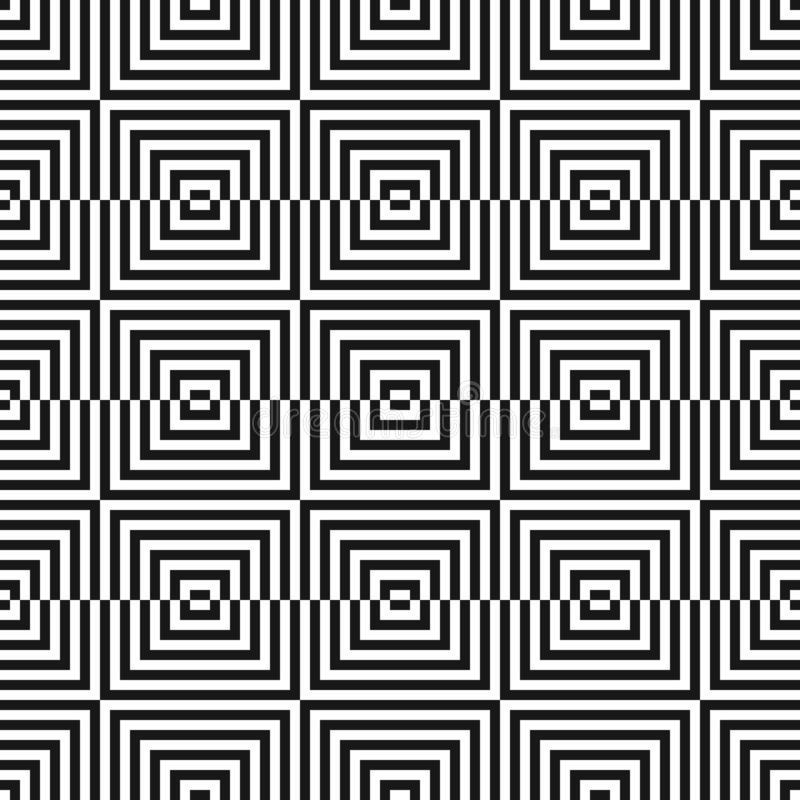 Zwart-wit geometrisch naadloos patroon met kleine vierkanten, lijnen Optisch art vector illustratie