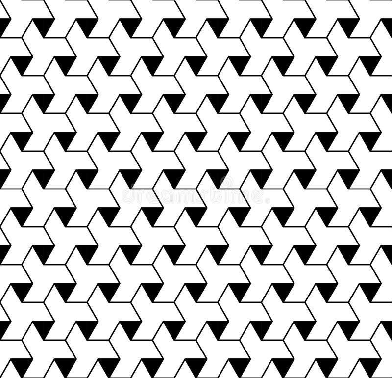 Zwart-wit geometrisch naadloos patroon met lijn en triangl stock illustratie