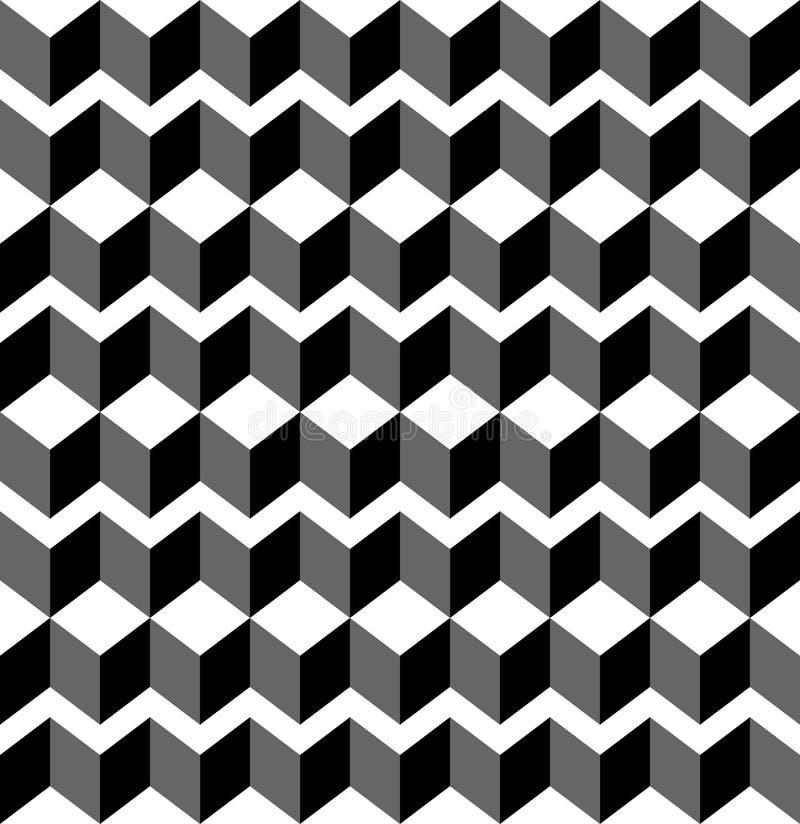 Zwart-wit geometrisch naadloos patroon met trapezoïde en Di stock illustratie