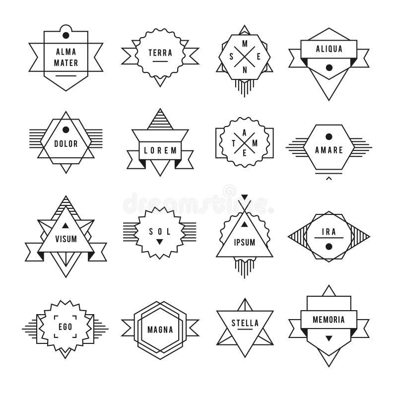 Zwart-wit geometrisch uitstekend etiket stock illustratie