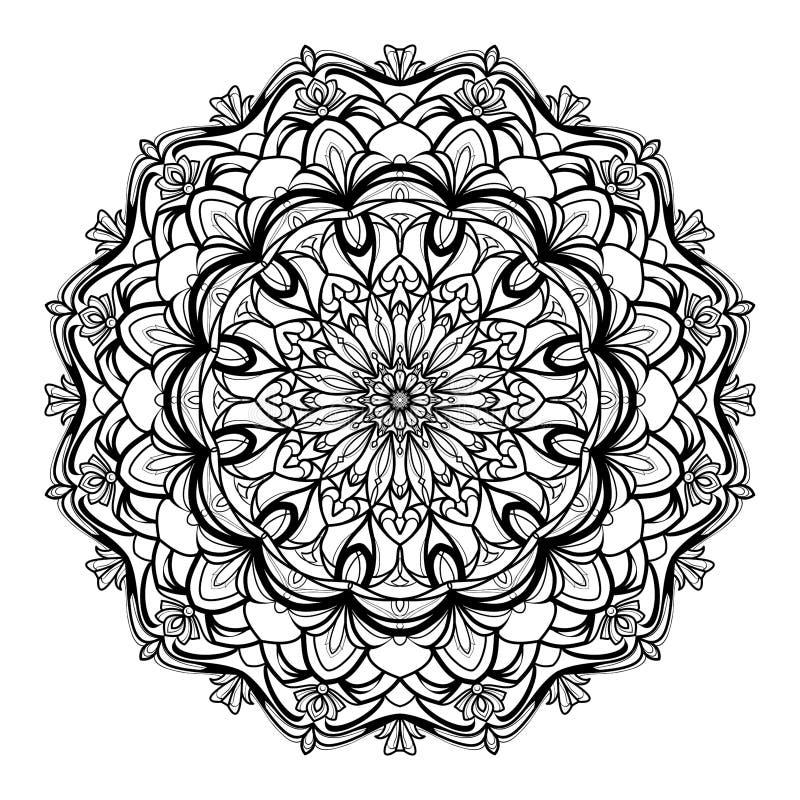 Zwart-wit geometrische vectormandala is ge?soleerd op een witte achtergrond Decoratief element met de motieven van het oosten voo royalty-vrije illustratie