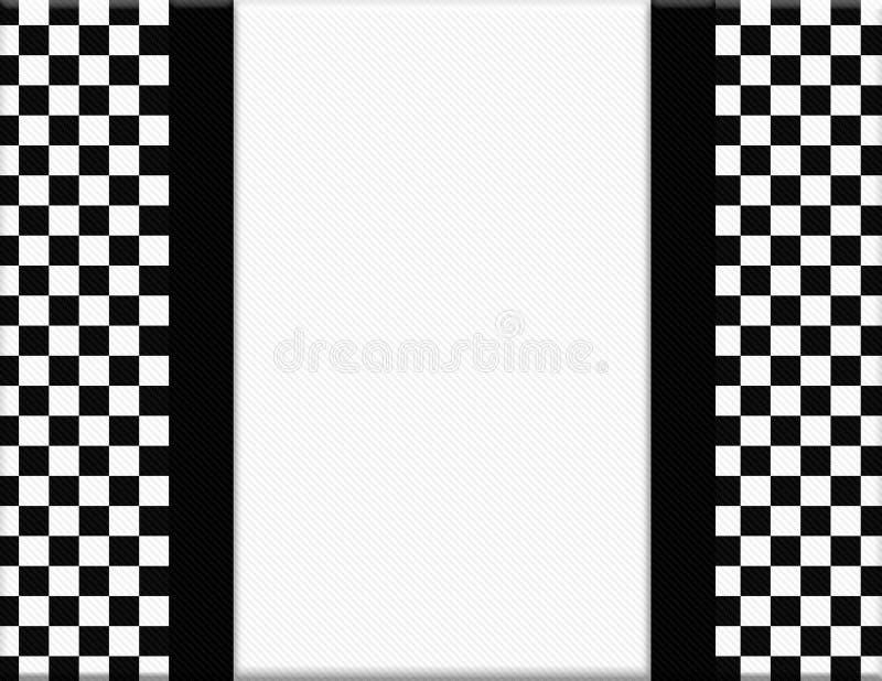 Zwart-wit Geruit Kader met Lintachtergrond stock illustratie