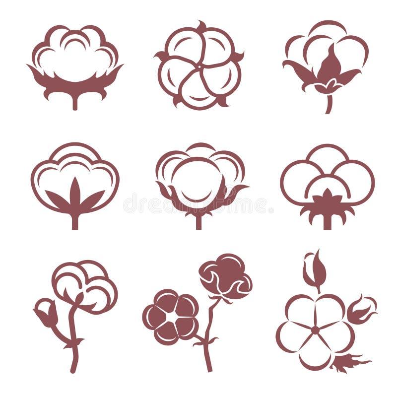Zwart-wit gestileerde beeldenreeks witte katoenen bloemen Vector geplaatste illustraties vector illustratie