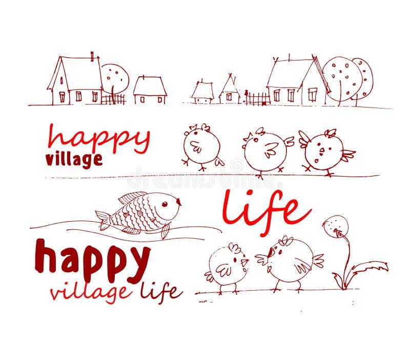 Zwart-wit gestileerde tekening van dorpshuizen, fruitbomen, kippen, vissen vector illustratie