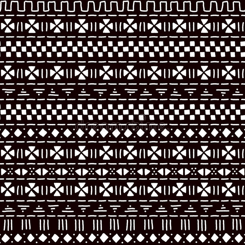 Zwart-wit gestreept de stoffen naadloos patroon van ornament traditioneel Afrikaans mudcloth, vector vector illustratie