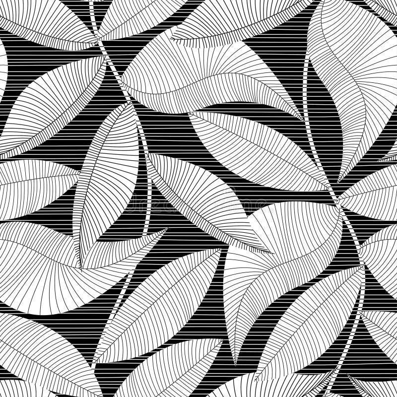 Zwart-wit gestreept textuur tropisch naadloos patroon stock illustratie