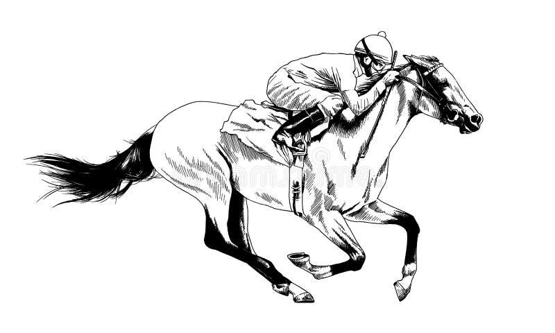 Zwart-wit getrokken paard royalty-vrije stock afbeeldingen