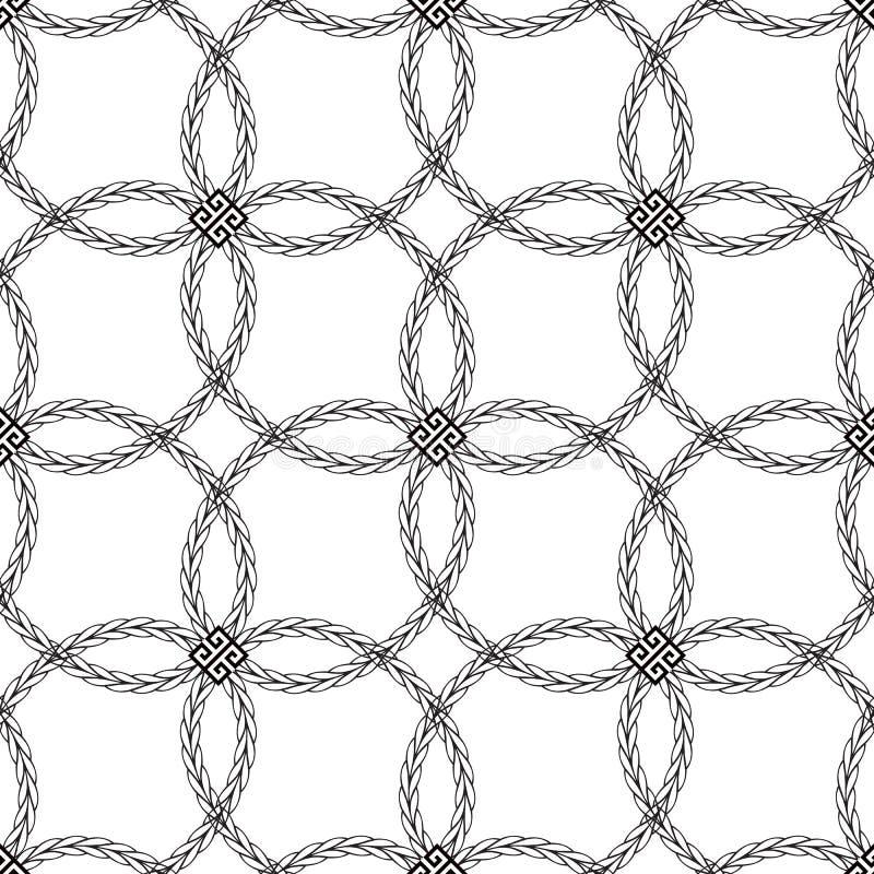 Zwart-wit gevlecht Grieks vector naadloos patroon Sier geometrische abstracte achtergrond De decoratieve elegantie herhaalt royalty-vrije illustratie