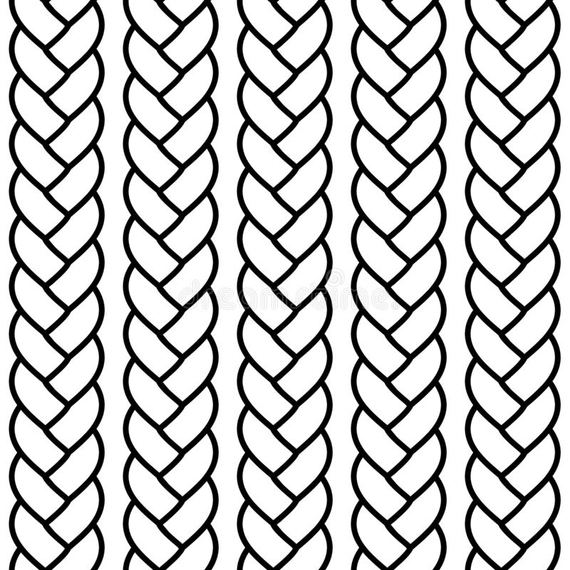 Zwart-wit gevlecht kabel naadloos patroon, vector vector illustratie