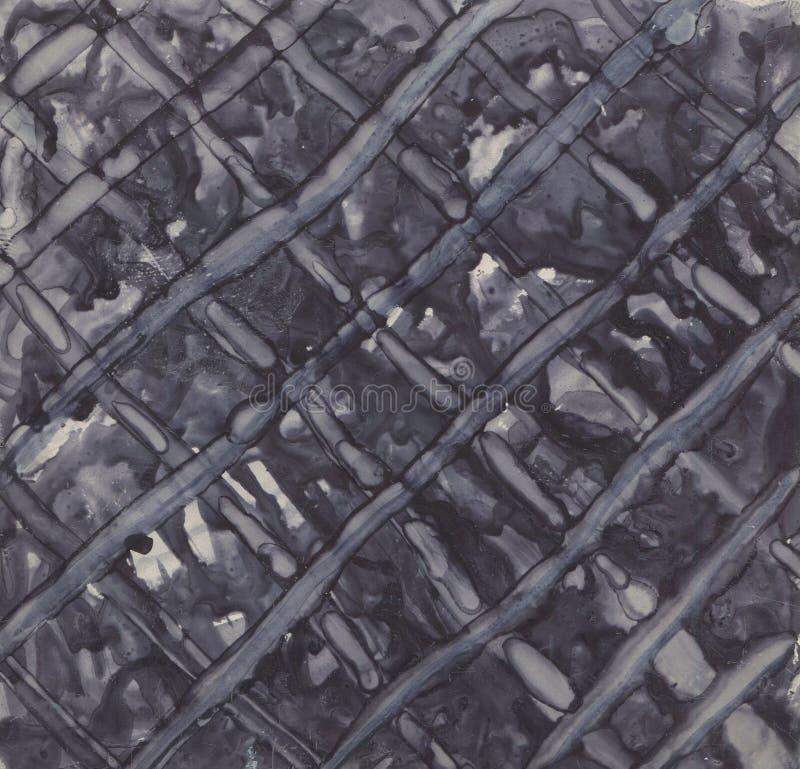 Zwart-wit geweven als achtergrond Geschilderd met inkt en alcohol royalty-vrije stock afbeelding