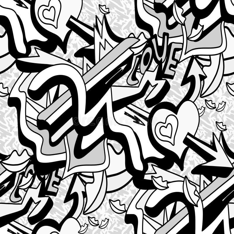 Zwart-wit graffitilijnen en hart op een witte achtergrond naadloze patroon vectorillustratie royalty-vrije illustratie