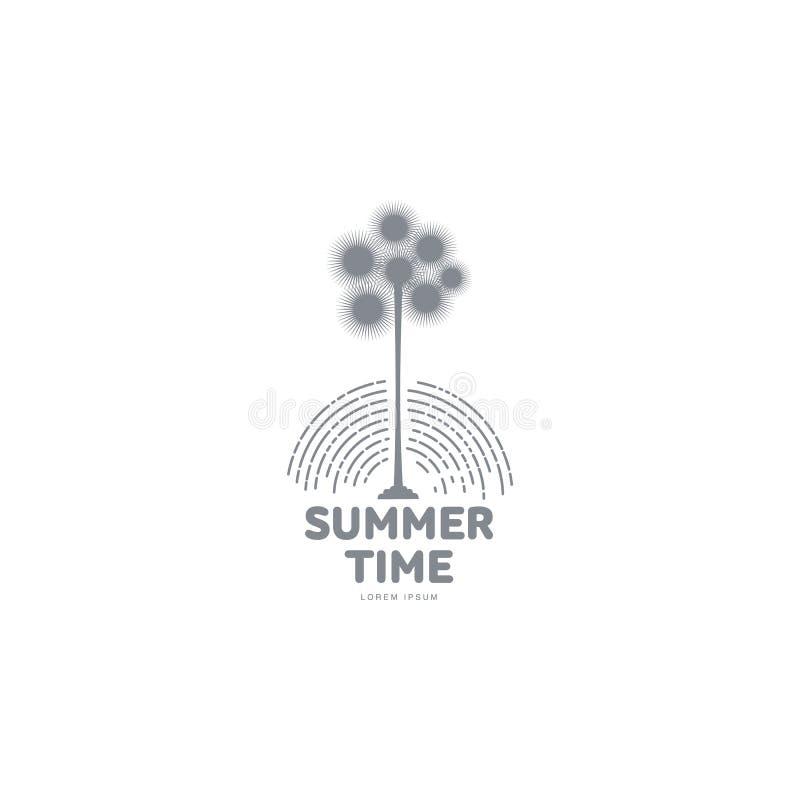 Zwart wit grafisch embleemmalplaatje met gestileerde palm stock illustratie