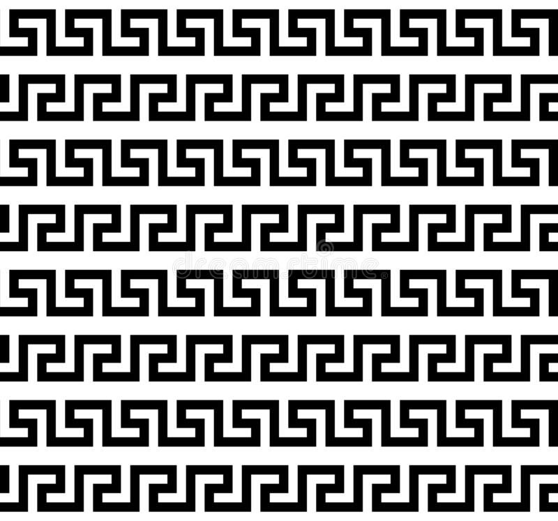 Zwart-wit Grieks meander naadloos patroon, vectormalplaatje vector illustratie