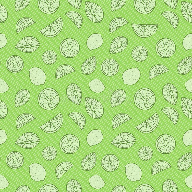 Zwart-wit groene hand getrokken citrusvruchten op dalingen Naadloos vectorpatroon vector illustratie