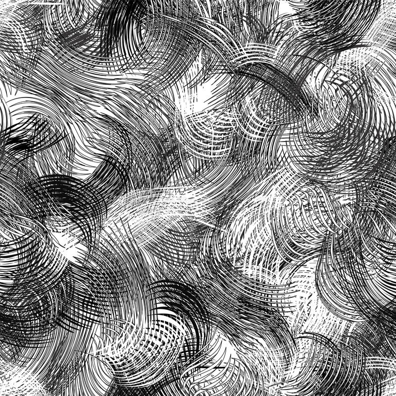 Zwart-wit grunge gestreept en golvend dynamisch naadloos patroon royalty-vrije illustratie