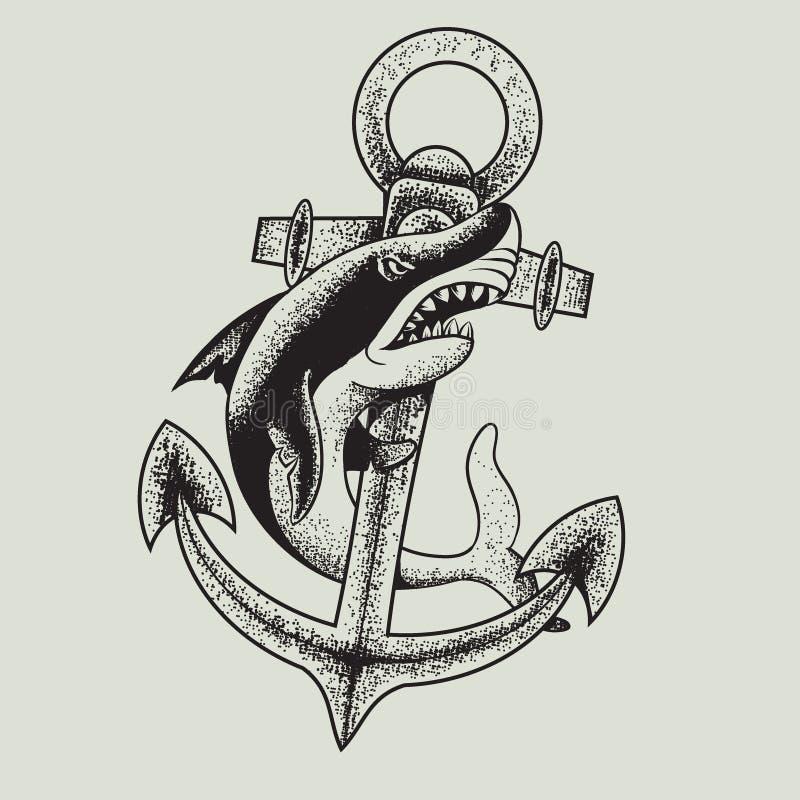 Zwart-wit haai en anker vectorillustratie stock illustratie