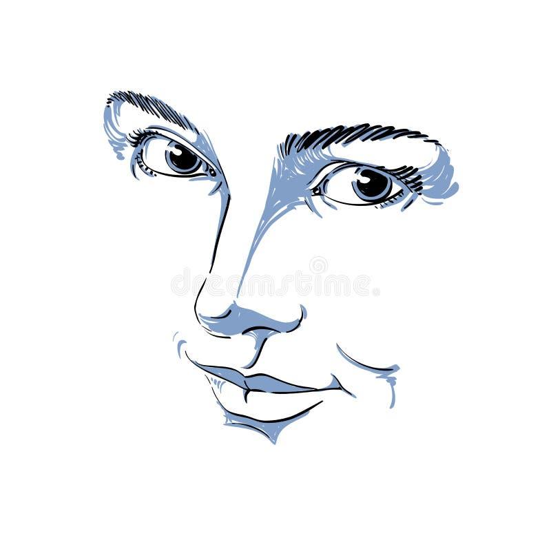Zwart-wit hand-drawn masker met gezichtseigenschappen en emotionele expr vector illustratie