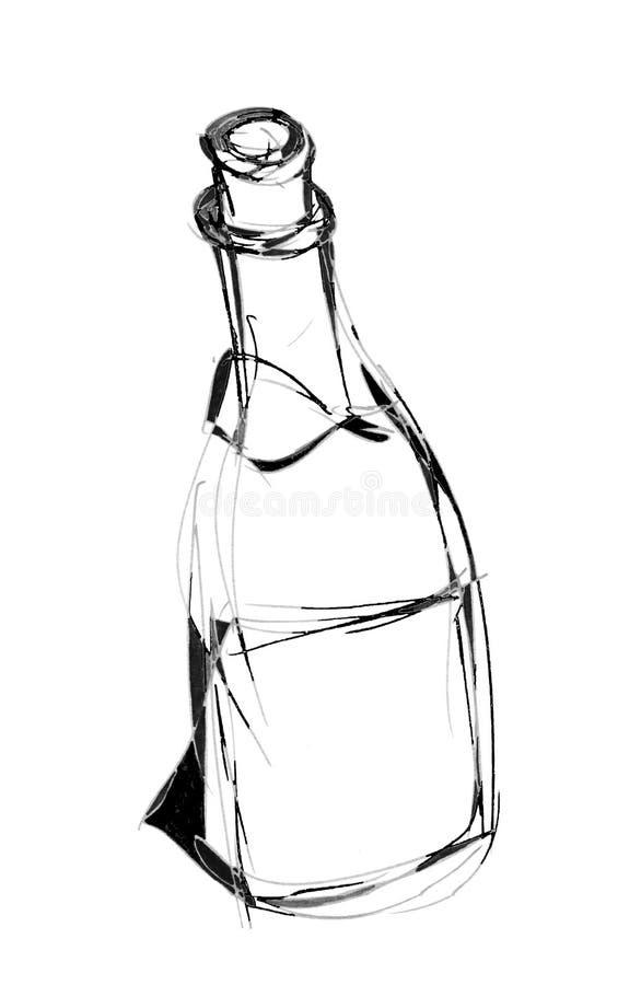 Zwart-wit hand getrokken beeld van wijnfles stock foto