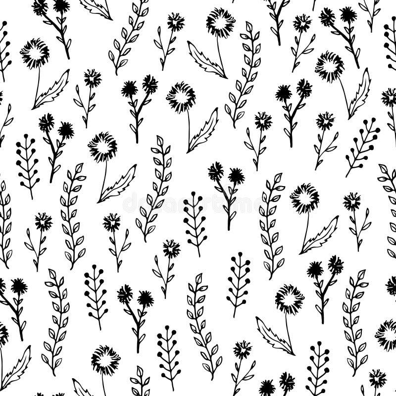 Zwart-wit hand getrokken bloemen naadloos patroon, vector vector illustratie