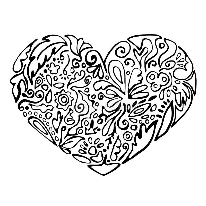 Zwart-wit hart royalty-vrije illustratie