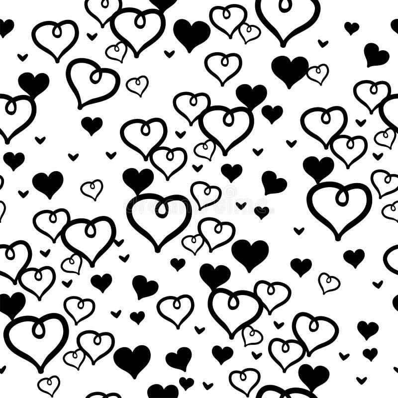 Zwart-wit harten naadloos patroon vector illustratie