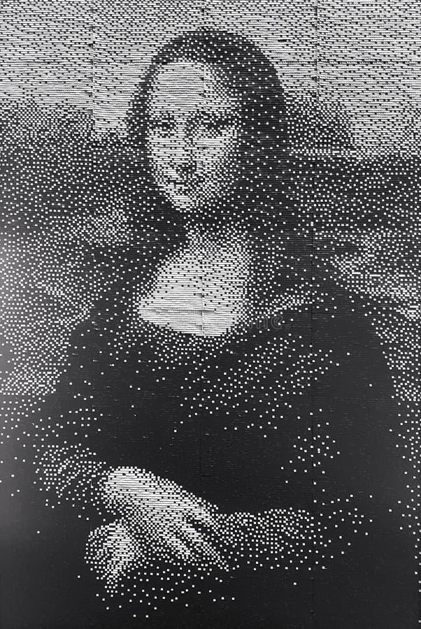 Zwart-wit het kunstwerkportret van Mona Lisa stock afbeeldingen