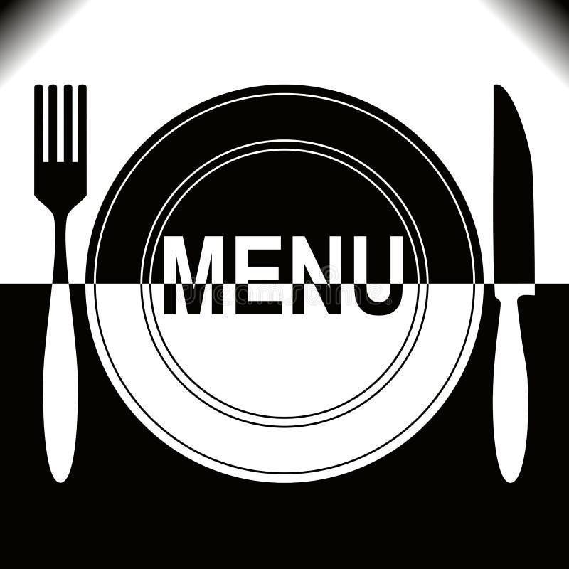 Zwart-wit het menuontwerp van het restaurant -. stock illustratie