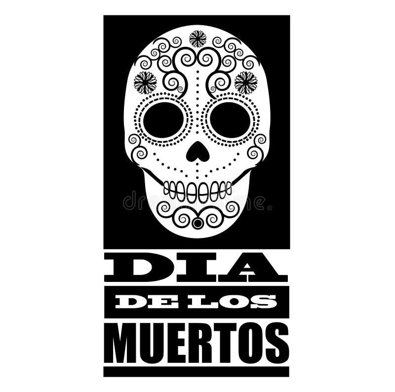 Zwart-wit het ontwerpelement van Dia de Los Muertos royalty-vrije illustratie