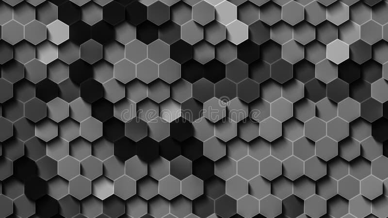 Zwart-wit hexuitdraaibehang vector illustratie