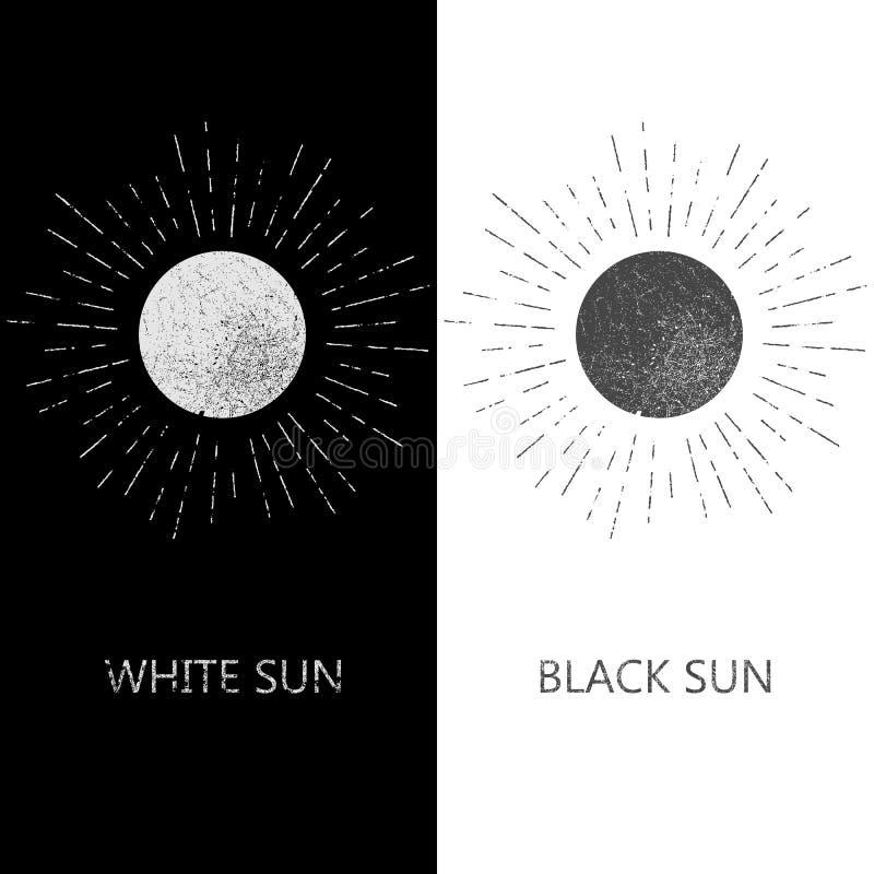 Zwart-wit hipster grunge uitstekend etiket stock illustratie
