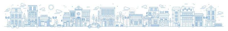 Zwart-wit horizontaal stedelijk landschap met stad of stadsstraat of district Cityscape met het leven getrokken huizen en winkels stock illustratie