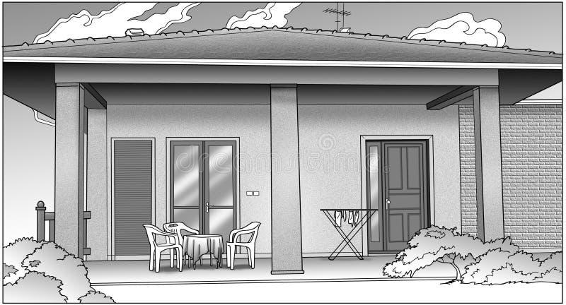 Zwart-wit huis vector illustratie