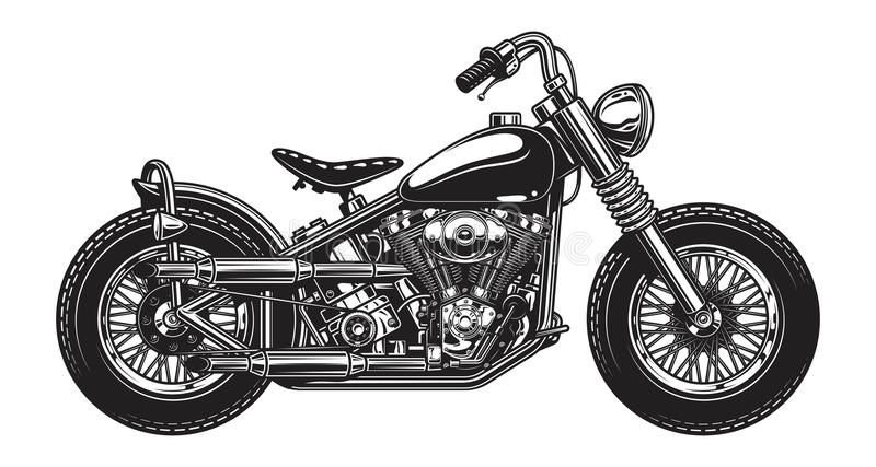 Zwart-wit illustratie van klassieke motorfiets stock illustratie