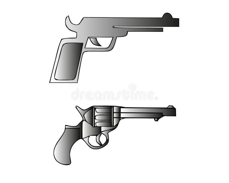 Zwart-wit illustraties van retro wapens Revolvers uitstekende kanonnen Vector geplaatste beelden Revolverkanon en wapen zwart-wit royalty-vrije illustratie