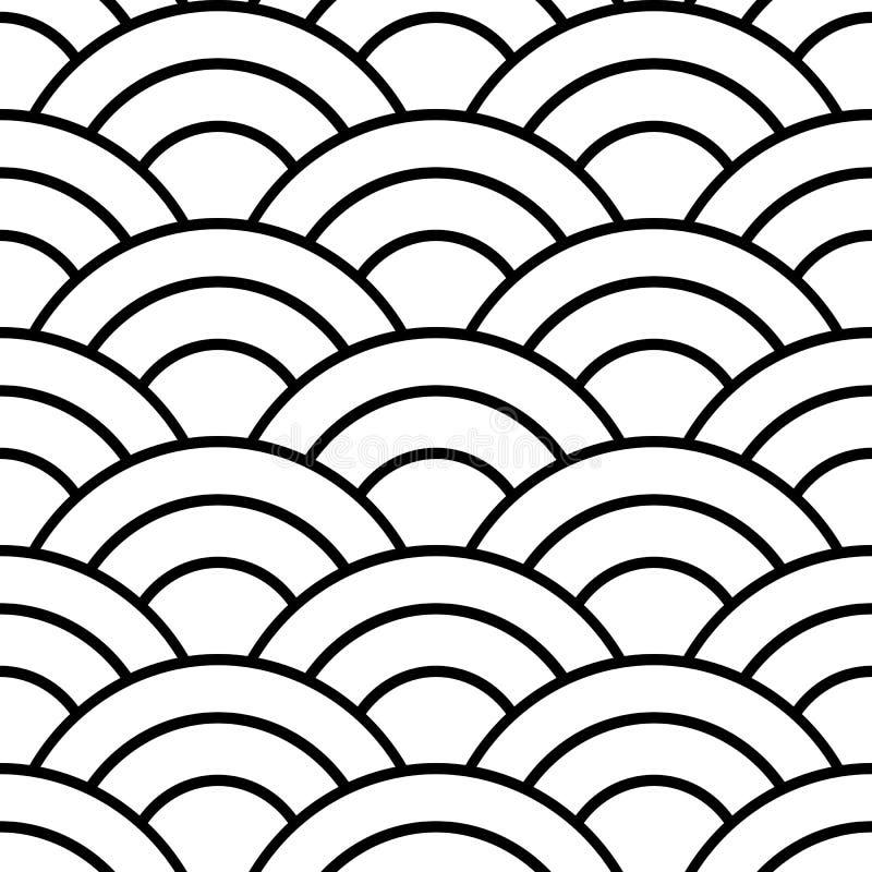 Zwart-wit Japans naadloos patroon vector illustratie