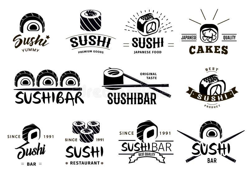 Zwart-wit Japanse Geplaatste Voedseletiketten stock illustratie