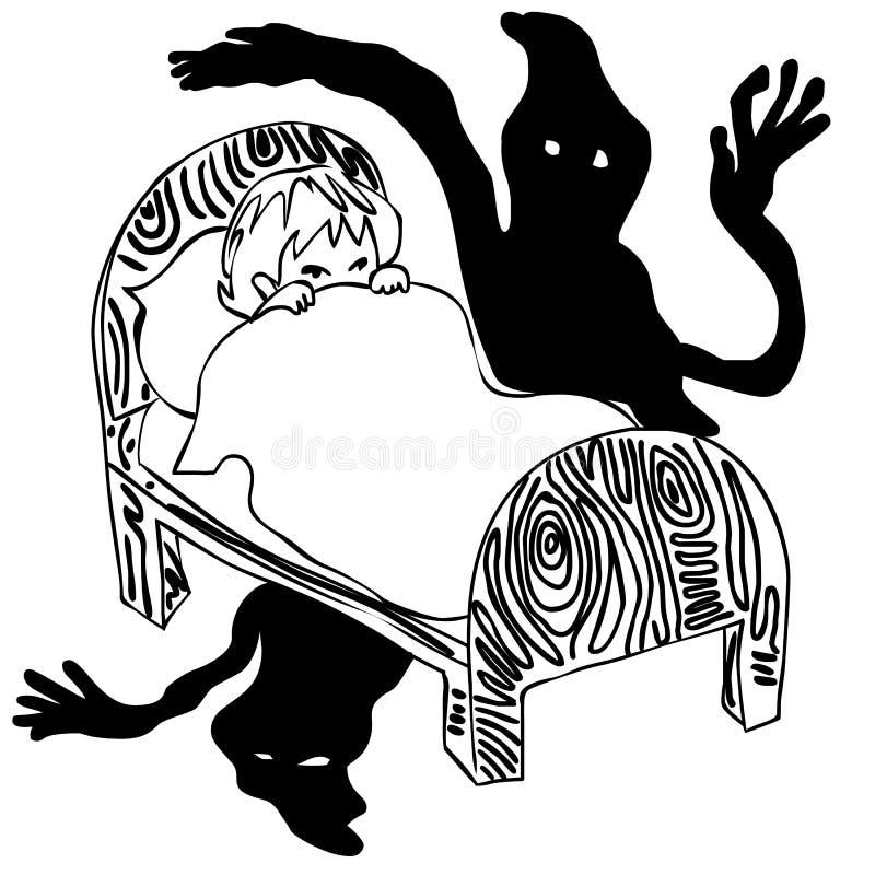 Zwart-wit jong geitje bang in dark vector illustratie